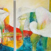 Doppelbild 40 x 100 cm und 80 x 100 cm Floral