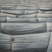 PlanQuadrat III, 2018 Wachstempera auf Baumwolle, 100x100cm