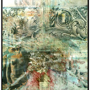 COMPANY   1993  8 x 10 inch. Polaroid-Imagetransfer auf Aquarellpapier, Blattgold, Wachs  40 x 50 cm, Unikat