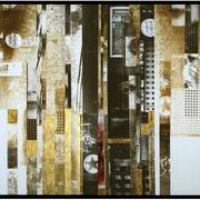 BLACK BOARD  2012  Chemigrafik auf sw-Fotopapier, Blattgold, Silber  Diptychon  70 x 100 cm