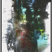 OUT OF CONTROL  Chemigrafik auf  sw- Fotopapier  Unikat  Dye-Lasurfarben, 80 x 120 cm