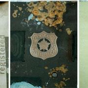 DOWN TOWN   NY. 1993  Polaroid-Imagetransfer, Gold  Triptychon, je Motiv 18 x 24 cm