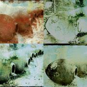 OHNE TITEL  2000  Collage 4 Lithfilm- Dias 13 x 18 cm  Polychrome-Solarisation,  Unikate
