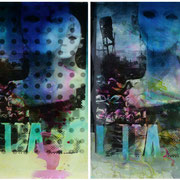 o.T. ( ZOMBIE )   2012  Schwarz-weiß Fotografie, Dye-Lasurfarben  Diptychon, je 65 x 100 cm  Unikate