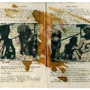 OHNE TITEL    2003  Polaroid-Imagetransfer auf Bibelseiten, Schellack  Buchobjekt 18 x 23 cm  Unikat
