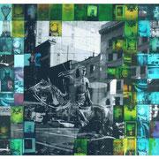 DOWN TOWN  NY.  1993  Collage aus  Polaroids 669,  Dye-Lasur coloriert  Format gesamt 95 x 160 cm