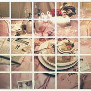 OHNE TITEL   1991  Polaroid Stillife Collage, 4x5inch. 25-teilig   Format gesamt 40 x 52 cm