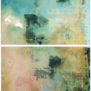 WHITE CLOUDS,  2009,  Chemigrafik (Polychromie ) Unikate  Diptychon je 30 x 40 cm