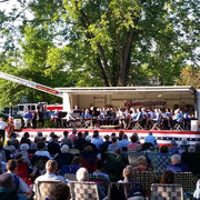 """Ladder 1 displays the American Flag at Fanwood's """"Concert for Fallen Heroes"""" - May 24, 2015"""