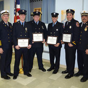 Chief Jonathan Ellis, FF Dennis Hercel, Jr., FF Matt Adams, FF Brian Piccola, Cpt. Frank Dietl and Chief John Piccola