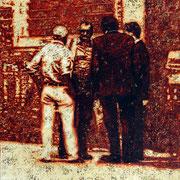 """""""Agenten"""", 2014, Öl auf Leinwand, 75 x 70 cm"""
