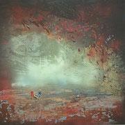 Die Geschichte eines mikronesischen Sandkorns  Öl und Acryl auf Leinwand 150 x 150 cm, 2014
