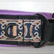 Windhundhalsband mit Martingale, 4 cm Gurtband mit 2,5 cm GB Zug, kleiner D-Ring extra eine Plakette