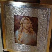 quadro sacro in argento e legno