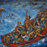 Roman Scheidl, Boat People, Öl / Leinwand, 85x105cm, 2015