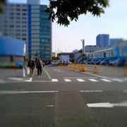 左手の駐車場にある歩道(緑のライン部分)へ。走行中の車に気を付けてください。
