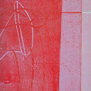 Gießkannen Streifen rot-rosa  23 x 13 cm