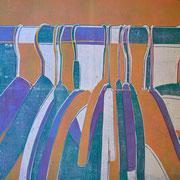 Kleiderbügel orange-grün-violett-weiß  60,3 x 45,2 cm