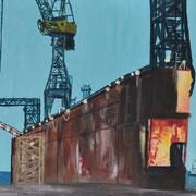 Schiffsdock, Acryl auf Malpappe, 40 x 30 cm