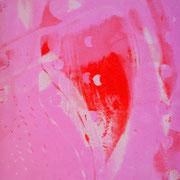 Durchschlag rosa-rot-weiß  17,2 x 12,2 cm
