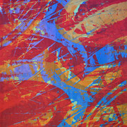 Fahrradreifen rot-blau-orange  93 x 65 cm