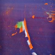 Durchschlag violett-orange  14,3 x 9.3 cm