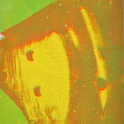 Durchschlag grün-gelb  14,3 x 9,1 cm
