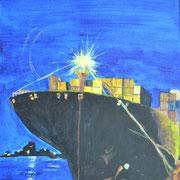 Containerschiff bei Nacht, Acryl auf Malpappe, 40 x 30 cm