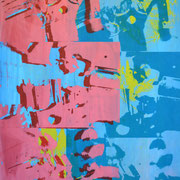 Wasserhähne blau und rosa  86 x 60,7 cm