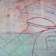 Gießkannen grün, rot, blau unter weiß  21,7 x 17,1 cm