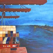 Containerschiff im Hafen, Acryl auf Leinwand, 40 x 30 cm - verkauft
