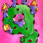 """Jean-Pierre B - """"Série Botaniculs"""" """"Figus BarbarX Bunga Gangus Bangus """" Acrylique sur toile 35x24cm"""