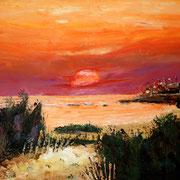 """Jean-Pierre Beillard - """"Coucher de mer"""" - Acrylique sur Toile 61x46"""