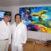 Colombian President Juan Manuel Santos and artist Rafael Espitia.