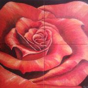 Acrylmalerei auf Leinen, 100x100cm - 4 geteilt, rote Rose, Blüten