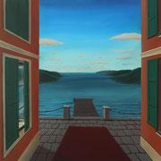 Klassische Malerei - Lasurtechnik, Blick auf das Meer, Wolken, Steg, Thomas Klee