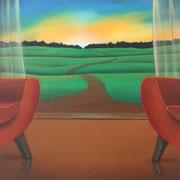 Klassische Malerei - Lasurtechnik, Der Weg, Toscana, Landschaft, Sonnenuntergang, Thomas Klee