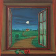 Klassische Malerei - Lasurtechnik, Blick nach draußen, Mond, rote Rose, Toscana, Thomas Klee