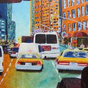 Acrylmalerei auf Leinen, 70x30cm, New York, rush hour