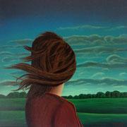 Klassische Malerei - Lasurtechnik, Die Frau in der Landschaft, Blick in die Landschaft, Wind, Thomas KLee