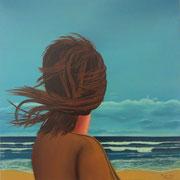 Klassische Malerei - Lasurtechnik, Die Frau am Meer, Blick aufs Meer, Wind, Thomas KLee