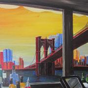 Acrylmalerei auf Leinen, 100x70cm, New York, brooklyn bridge, Amerika