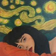 Klassische Malerei - Lasurtechnik, Sternenhimmel, Vincent van Gogh, Gesicht, Traum, Portrait, Thomas KLee