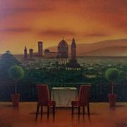Klassische Malerei - Lasurtechnik, Landschaft, Florenz, Italien, Thomas KLee