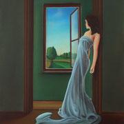Klassische Malerei - Lasurtechnik, Die Frau am Fenster, Blick nach draußen, Toscana, Frau, Thomas Klee