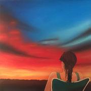 Klassische Malerei - Lasurtechnik, Die Frau am Meer, Sonnenuntergang, Blick auf Linz, Thomas KLee