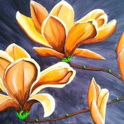 Acrylmalerei auf Leinen, 80x60cm,Blumen, Blüten