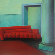 Klassische Malerei - Lasurtechnik, rotes Sofa, Thomas Klee