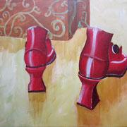Acrylmalerei auf Leinen, 60x40cm, Rote Schuhe, Tasche, Stillleben