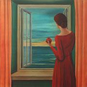 Klassische Malerei - Lasurtechnik, Blick auf das Meer, rotes Kleid, Apfel, Fenster, Meer, Frau am Fenster, Thomas Klee